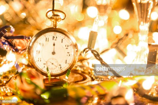 new year's eve holiday party, pocket watch, clock at midnight. - 2019 stock pictures, royalty-free photos & images