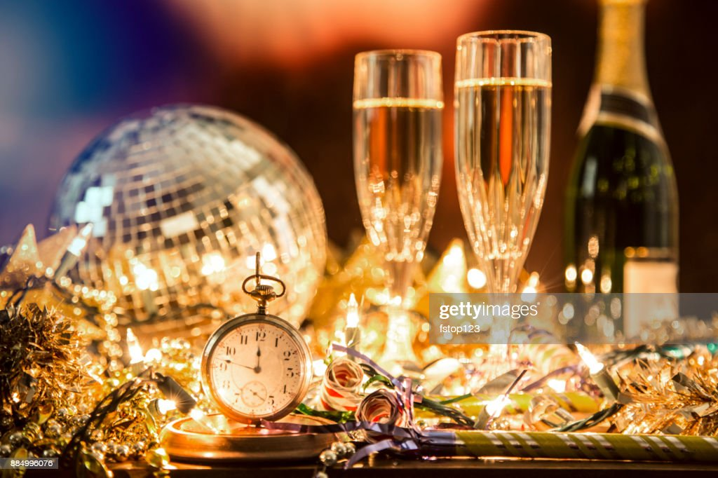 New Year's Eve holiday party, pocket watch, clock at midnight. : Stock Photo