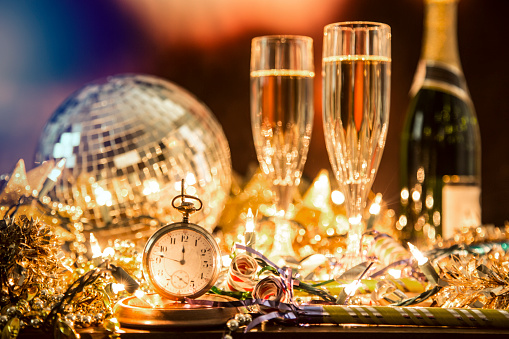 New Year's Eve holiday party, pocket watch, clock at midnight. - gettyimageskorea