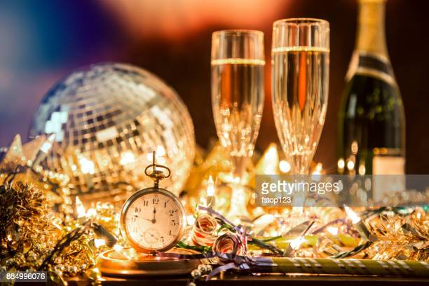 new year's eve holiday party, pocket watch, clock at midnight. - vigilia di capodanno foto e immagini stock