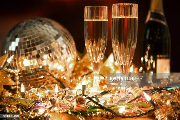 new year's eve holiday party with champagne, disco ball, decorations. - table after party stock pictures, royalty-free photos & images