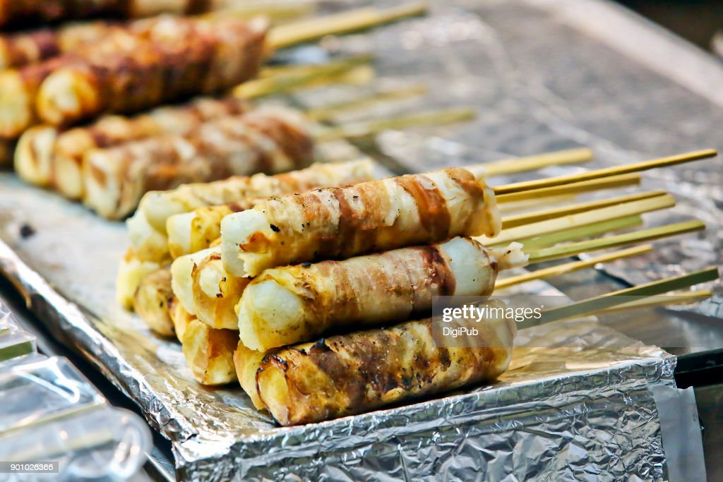 New Year's Eve - Mochi with pork belly  wrapped : Stock Photo