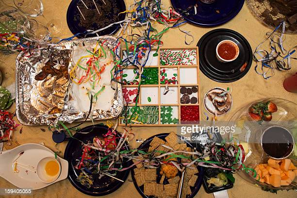 new year's eve party  aftermath - after party mess stock pictures, royalty-free photos & images
