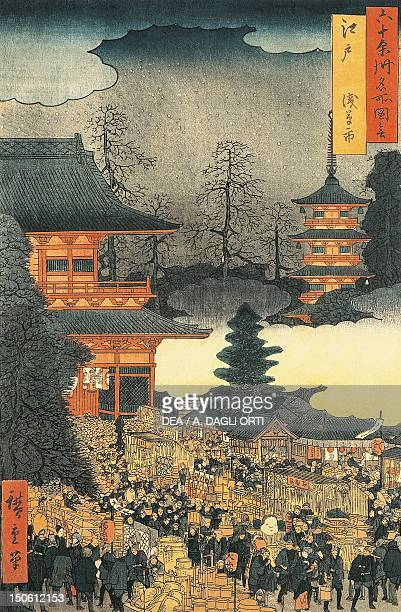 New Year's eve party in Asakusa in the city of Edo by Ando Hiroshige woodcut Japan Japanese Civilisation 19th century