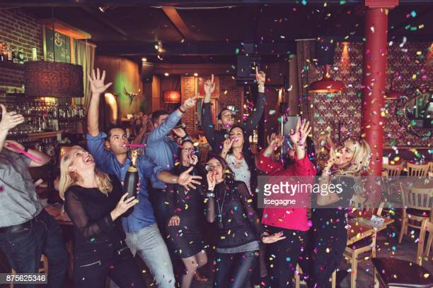 new years eve party - work party stock pictures, royalty-free photos & images