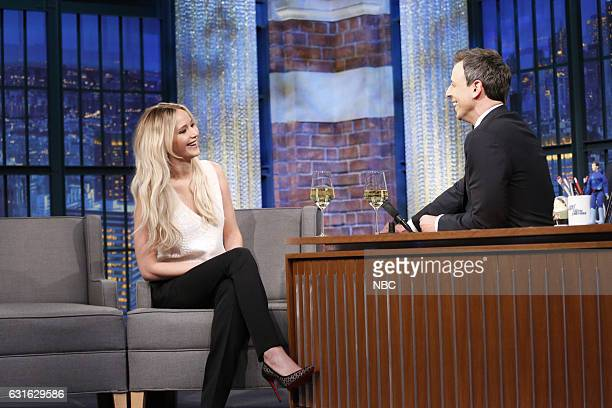 MEYERS New Year's Eve Special Pictured Actress Jennifer Lawrence is interviewed by host Seth Meyers during the Late Night with Seth Meyers New Year's...
