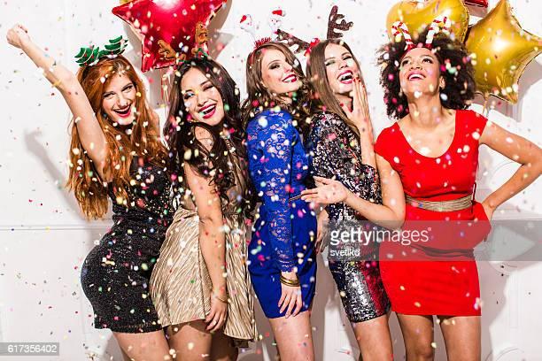 Silvester mit Mädchen.