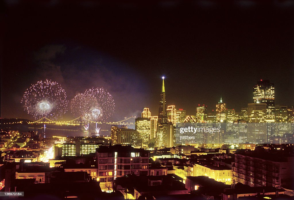 New Years Fireworks in San Francisco 2000 : Stock Photo