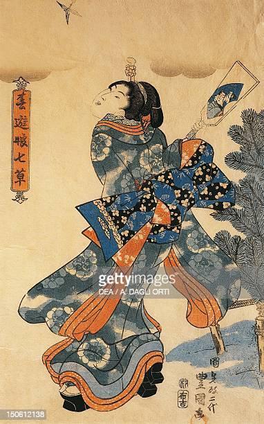 New year's game 18441845 by Utagawa Kunisada woodcut Japan Japanese Civilisation Meiji period 19th century