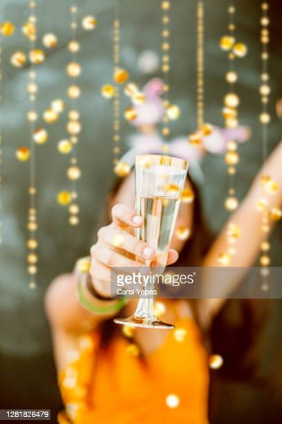 new years girl toasting - celebratory toast stock pictures, royalty-free photos & images