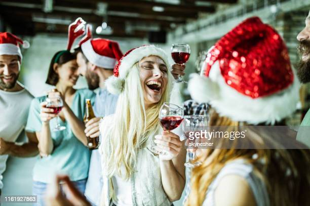 new year's party in the office! - christmas party stock photos and pictures