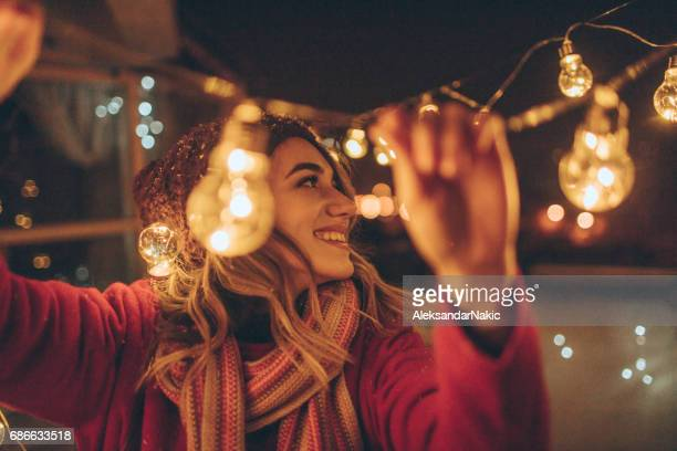 new year's party preparations - christmas party stock photos and pictures
