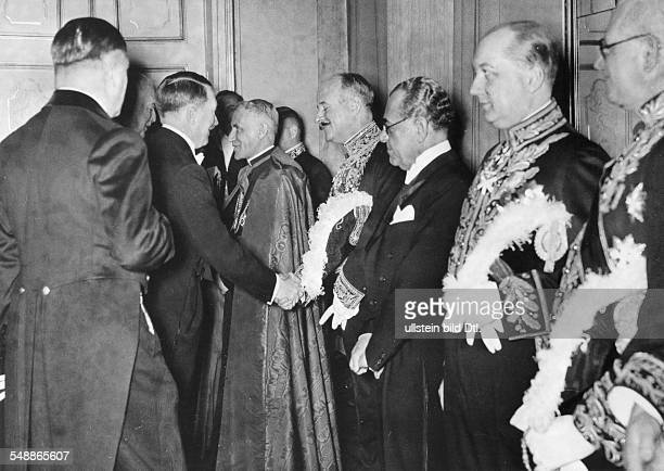New Year's Reception of the Reich government at the Presidential Palais in Berlin Adolf Hitler and foreign minister Konstantin Frhr v Neurath...