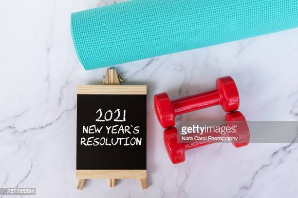 2021 new year's resolution fitness concept - happy new month stock pictures, royalty-free photos & images