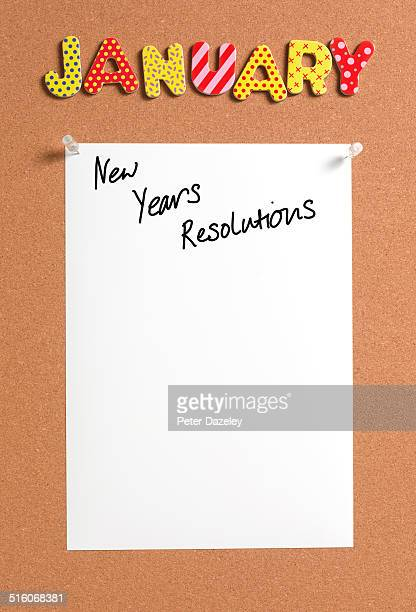 New Years resolution pinboard