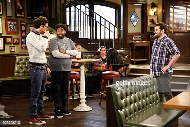 UNDATEABLE A New Year's Resolution Walks Into A Bar Episode 310A Pictured Rick Glassman as Burski Ron Funches as Shelly David Fynn as Brett