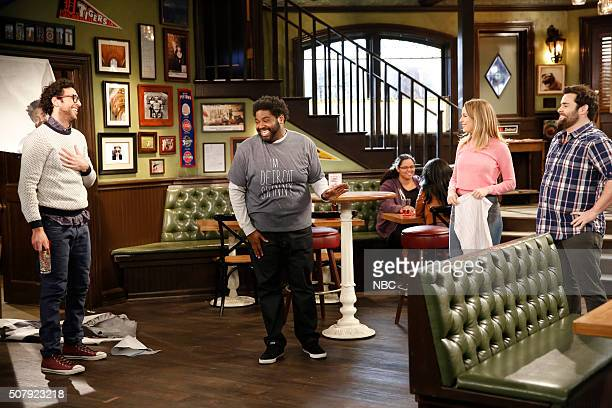 UNDATEABLE A New Year's Resolution Walks Into A Bar Episode 310A Pictured Rick Glassman as Burski Ron Funches as Shelly Bridgit Mendler as Candace...