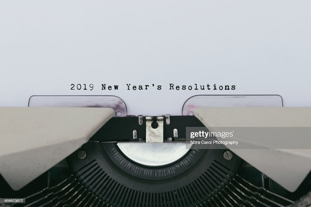 2019 New Year's Resolutions on a vintage typewriter : Stock Photo