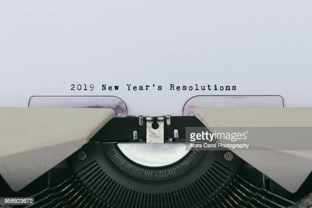 2019 new year's resolutions on a vintage typewriter - 2019 stock pictures, royalty-free photos & images