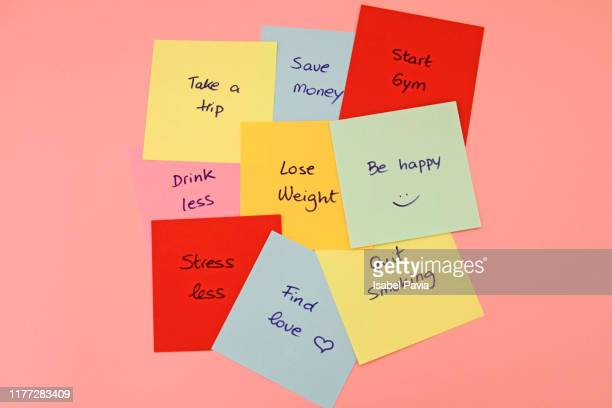 new year's resolutions on sticky notes - to do list stock pictures, royalty-free photos & images