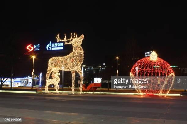 New year's street decoration in Belgrade