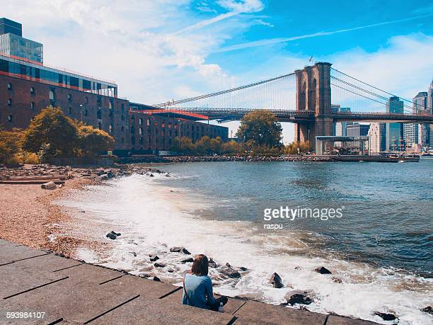new yirk, brooklyn bridge and dumbo - dumbo imagens e fotografias de stock