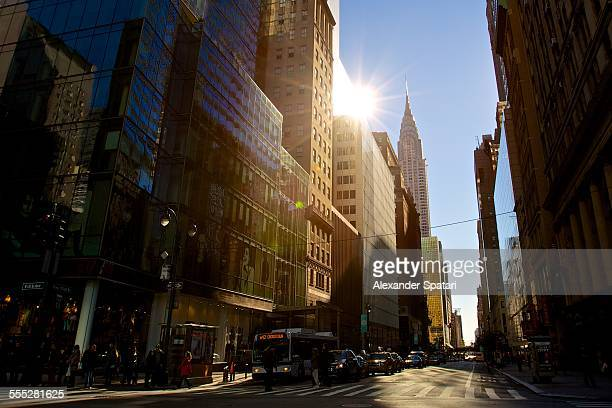New York 42nd street in the morning with sun glare