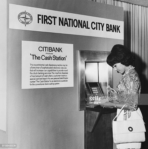 A machine that in effect cashes checks around the clock will be put in use on an experimental basis at the headquarters of first national city bank...