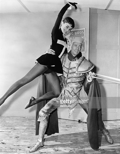 Academy award winner Audrey Hepburn and Mel Ferrer stars of the current Broadway play ONDINE pose in costumes they will wear when they participate in...