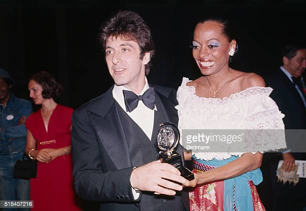 Actor Al Pacino with best actor Tony for play Basic Training of Pavlo Hummel with singer Diana Ross