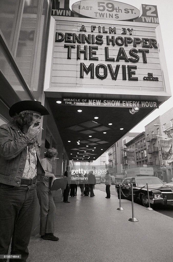 Actor Dennis Hopper Checks On A Theatre Where His New Movie The