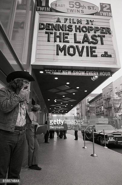 Actor Dennis Hopper checks on a theatre where his new movie The Last Movie opened September 29th Hopper is cast as a mythic film cowboy in the film...