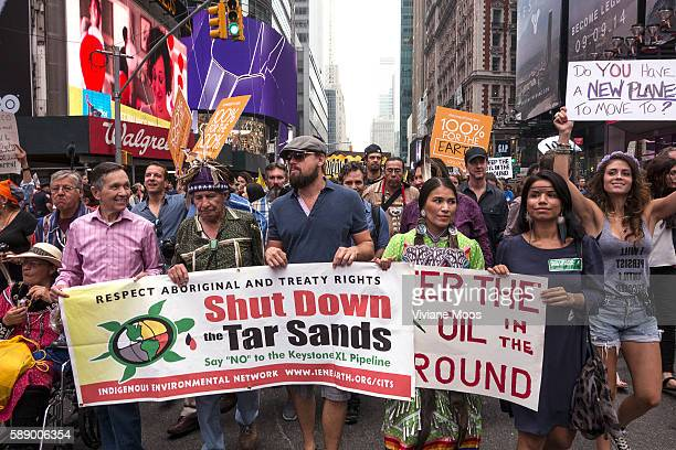 New York Actors Leonardo DiCaprio Edward Norton and Dennis Kucinich marched in protest of the Tar Sands with indigenous native Indians It's being...