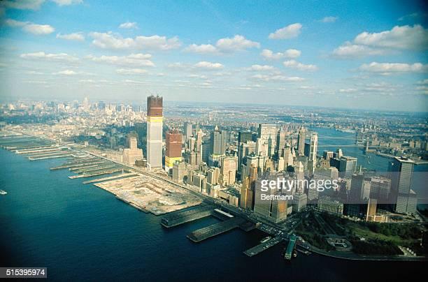 Aerial views of Manhattan featuring World Trade Center under construction