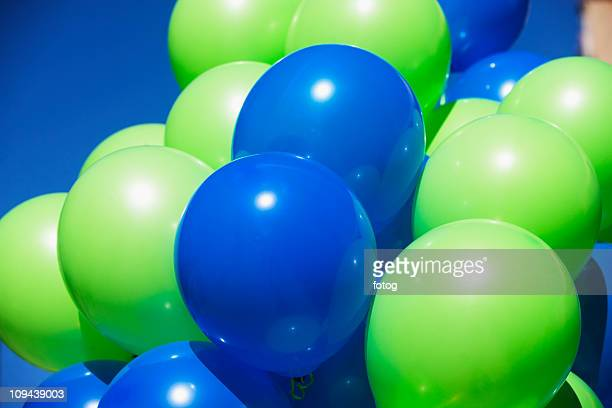 USA, New York, Albany, green and blue balloons
