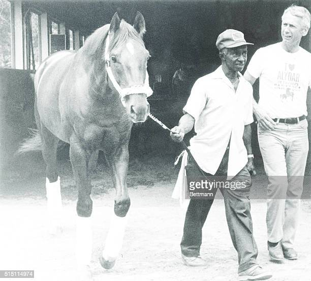 Alydar who finished second to Affirmed in all three races of the Triple Crown battle in 1978 leaves Belmont Park for Calumet Farms where he will...