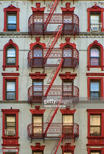 new york apartment buildings - terraced_house stock pictures, royalty-free photos & images