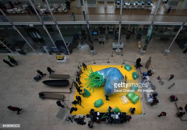 New York artist Jason Hackenwerth starts work on a giant balloon sculpture named Pisces that will hang in the National Museum of Scotland in...