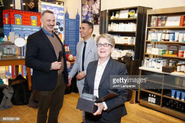 New York Assembley member Deborah J. Glick accepts an award presented by Karl Siciliano and Alex Roque during The Bea Arthur Residence Building...
