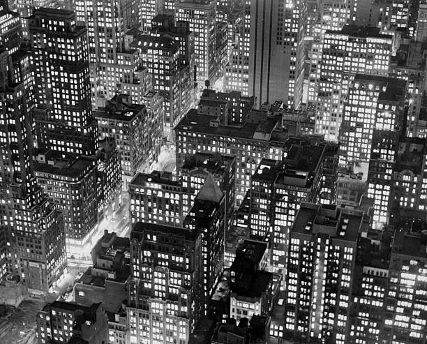 New York at dusk from the top of the RCA building looking so