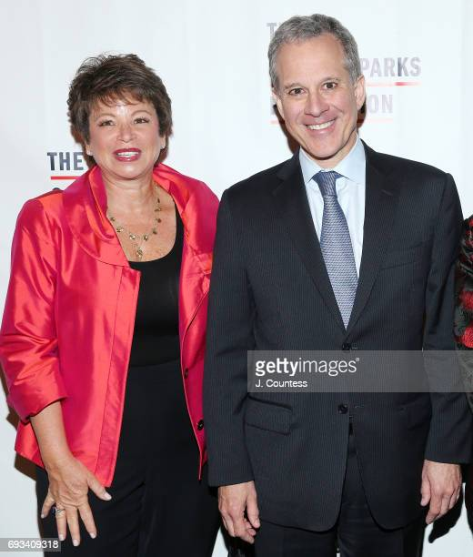 New York Attorney General Eric Schneiderman and Valerie Jarrett attend the 2017 Gordon Parks Foundation Awards Gala at Cipriani 42nd Street on June 6...