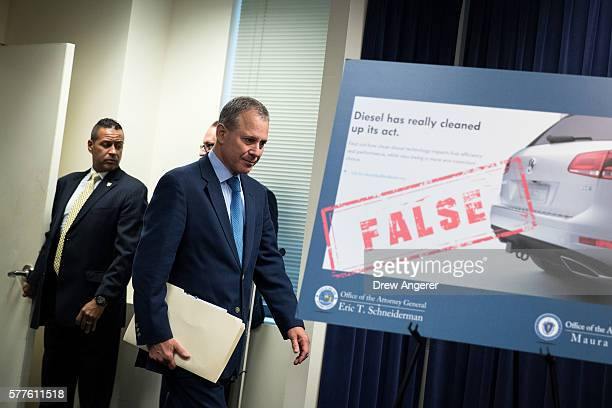 New York Attorney General Eric Schneiderman arrives for a press conference at the office of the New York Attorney General July 19 2016 in New York...