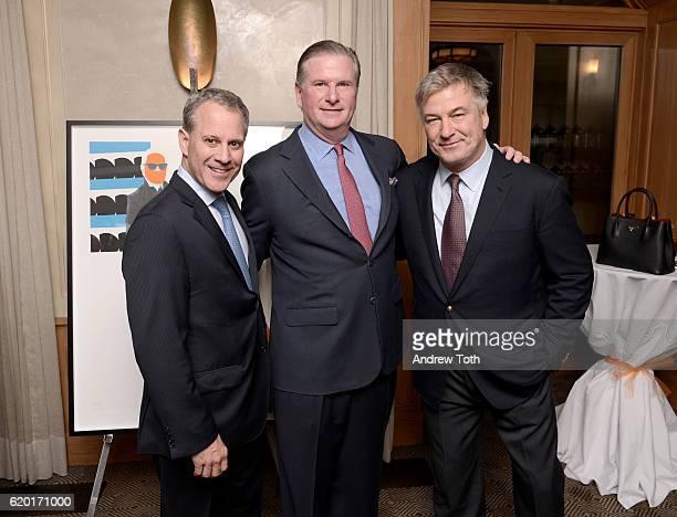 New York Attorney General Eric Schneiderman President of People for the American Way Michael Keegan and Alec Baldwin attend attend the Get Out The...