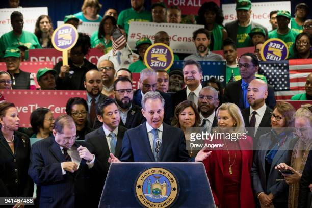 New York Attorney General Eric Schneiderman speaks at a press conference to announce a multistate lawsuit to block the Trump administration from...