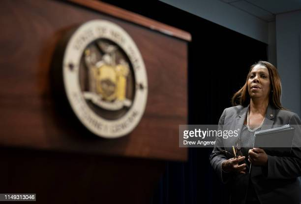 New York Attorney General Letitia James arrives for a press conference, June 11, 2019 in New York City. James announced that New York, California,...