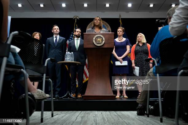 New York Attorney General Letitia James speaks during a press conference, June 11, 2019 in New York City. James announced that New York, California,...