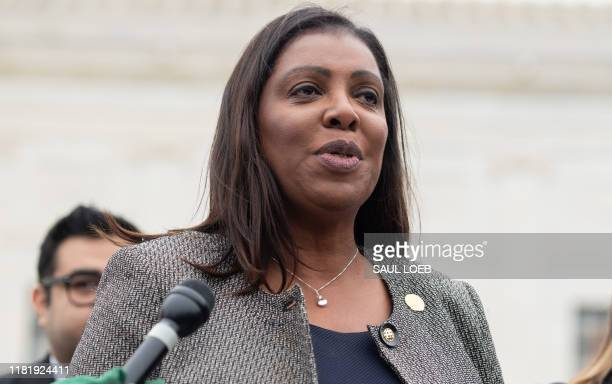 New York Attorney General Letitia James speaks following arguments about ending DACA outside the US Supreme Court in Washington, DC, November 12,...