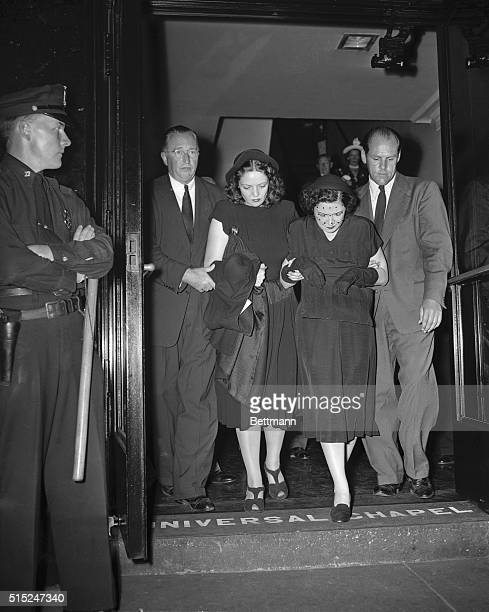 Babe Ruth's widow Claire leaves Universal Funeral Chapel 52nd St and Lexington Ave to which Ruth's body was removed after lying in state for two days...