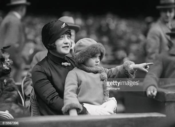Babe Ruth's wife, Claire is shown with daughter Dorothy observing at Yankee Stadium.