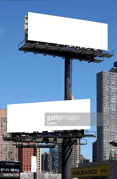 new york billboards - two objects stock photos and pictures